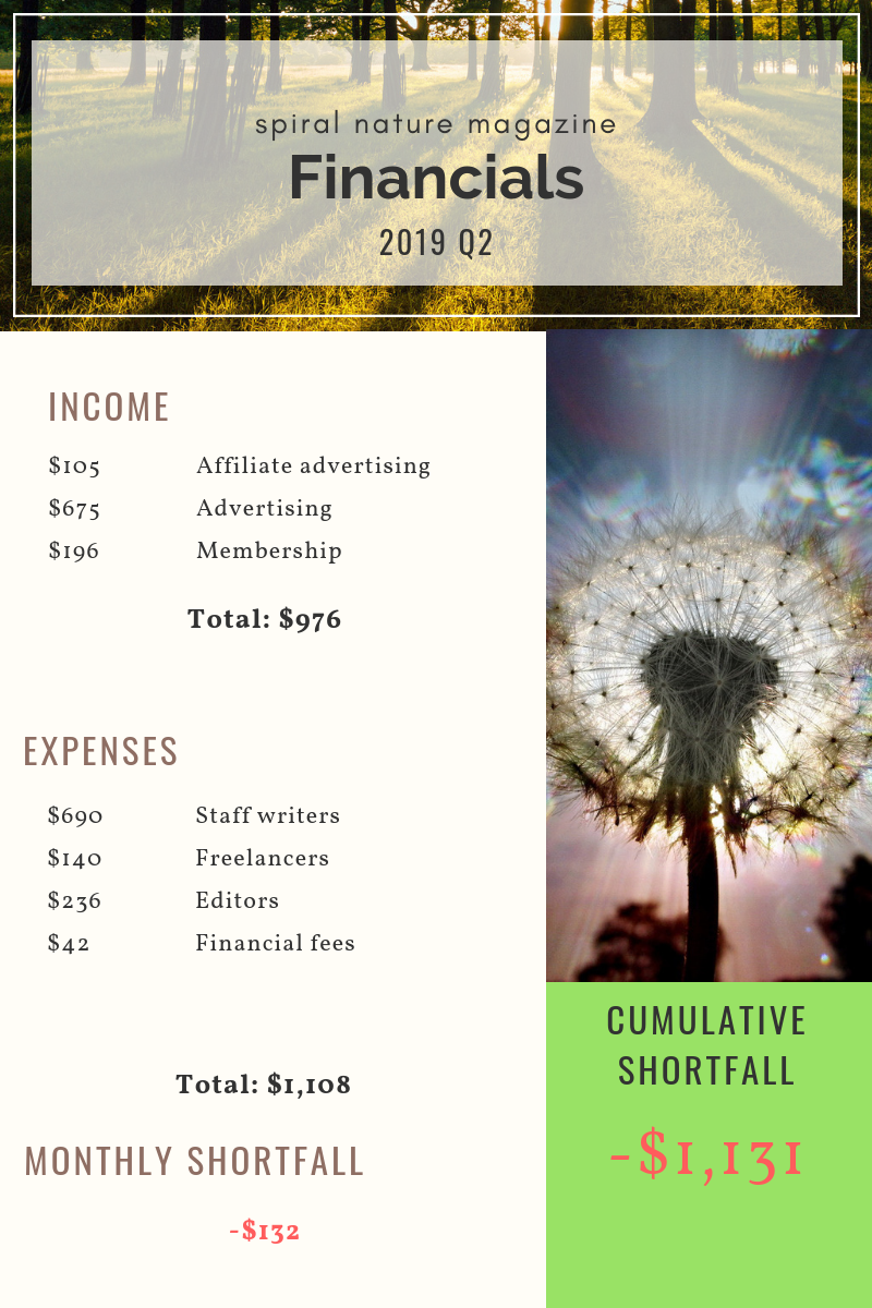 2019 Q2 Financials for Spiral Nature Magazine