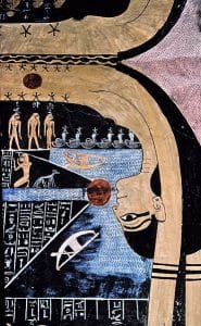 English: Nut, Egyptian goddess of the sky in the tomb of Ramses VI, image by Hans Bernhard