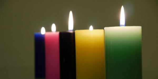 Coloured candles, photo by Yortw
