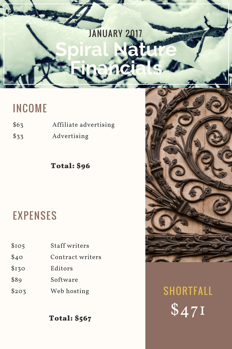 January 2018 Spiral Nature Financials