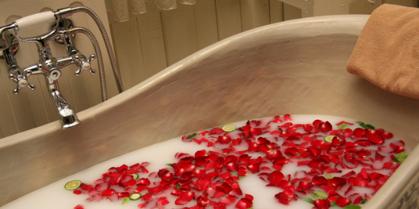 Milk and rose petal bath, photo by Dennis Wong