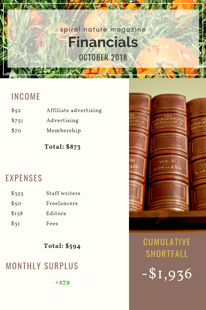 October 2018 Spiral Nature Financials