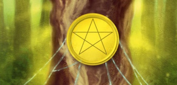 Detail of the Ace of Pentacles, from the Silver Witchcraft Tarot